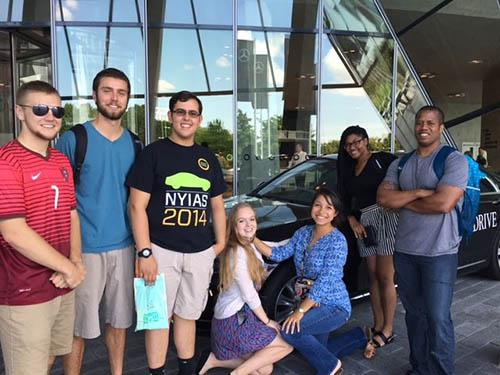 ESC summer students visiting the Mercedes Benz Museum